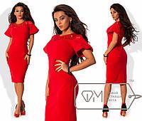 Платье  приталенное из креп-дайвинга на кокетке из французского гипюра с рукавами-фонарик раз. 42-48