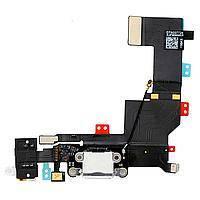 Шлейф для iPhone 5S с разъмом зарядки. коннектором наушников и микрофоном. белый