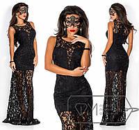 Платье в пол облегающее из гипюра без рукавов, с нижним чехлом в виде мини-платья из дайвинга с декольте