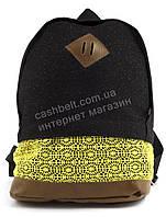 Стильный качественный женский рюкзак в блесках Гипюр art. Турция с желтой вставкой