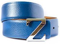 Стильный мужской ремень в синем цвете 100% кожи в стиле Zegna (11255)