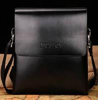 Стильная мужская сумка Polo. Размер 19-22-4 см. Черная