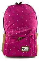 Вместительный качественный женский рюкзак  art. 175 ярко розовый в белый горошек