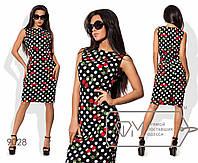 Платье из принтованного стрейч-коттона приталенное без рукавов размер 42-46