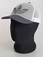 Бейсболка серая Adidas сетка пятиклинка