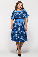 Женственное летнее платье Кристина голубое (50-56)
