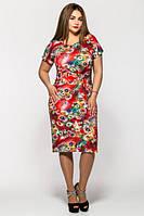Летнее платье Маки коралл (52-58)