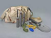 Лопата автомобильная складная универсальная многофункциональная в сумке