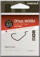 Офсетные крючки metsui OFFSET WORM цвет bln, размер № 1, в уп. 6 шт.