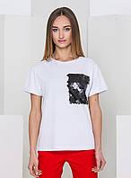 Белая футболка с пайетками на кармане With Pepper