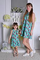 Family look! Веселое летнее платье мама дочка (длина мини, без рукавов, волан, принт мороженое)