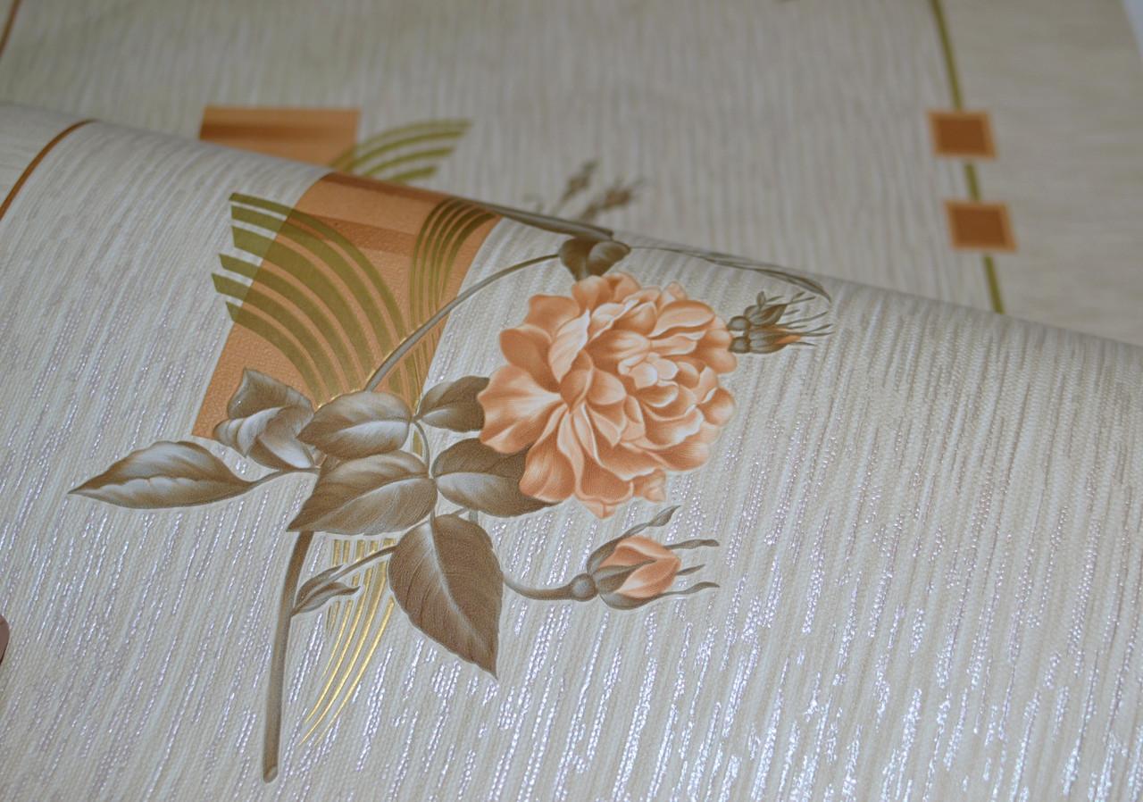Обои на стену, цветы, бежевый, дуплексные,  Ирида 6373-02, 0,53*10м