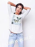 Женская летняя футболка рукав три четверти
