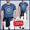 Мужская футболка LC Waikiki синего джинсового цвета с надписью California