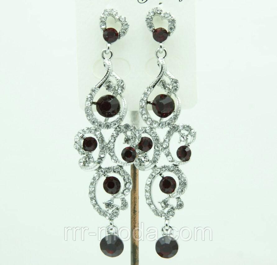 650 Бордовые длинные серьги-подвески на выпускной с тёмными камнями.