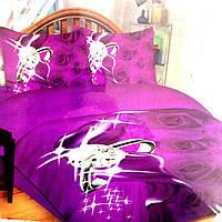 Комплект постельного белья евро фиолетовый