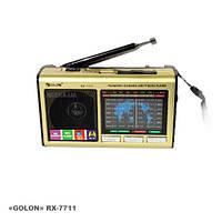 Портативный радиоприемник RX-7711. Аналоговый приемник Golon RX-7711+ фонарик, MicroSD/Usb/Aux.