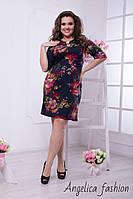 Стильное женское платье цветы на черном фоне , фото 1