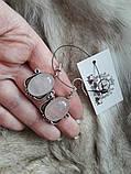 Розовый кварц серьги с кварцем. Серьги с натуральным розовым кварцем в серебре Индия, фото 2