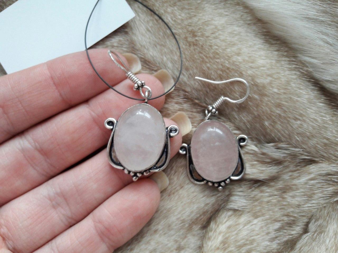 Розовый кварц серьги с кварцем. Серьги с натуральным розовым кварцем в серебре Индия