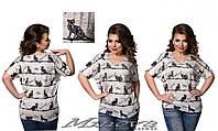 """Летняя футболка большого размера с принтом """"кошки"""" (48-54)"""