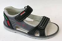 Кожаные сандалии для мальчиков на липучках с открытым носком. В остатке 34р., фото 1
