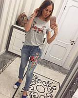 Женские модные джинсы бойфренд с вышивкой , фото 1