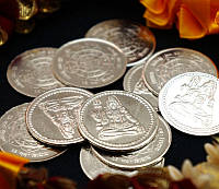 "Монета алтарная ""Шива"" белый металл (3 см)"