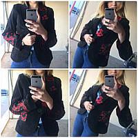 Пиджак женский красные цветы