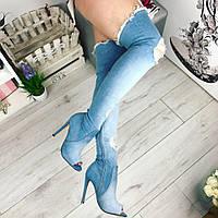 Женские ботфорты чулки, каблук 11 см, джинсовые, голубые /  летные ботфорты  женские высокие, модные
