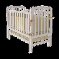 Детская кроватка для младенцев Teddy с маятником поперечного качания (без ящика / с ящиком) ТМ WoodMan Белоснежный