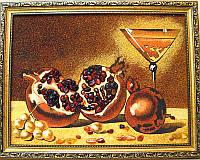 """Картина """"Гранат с бокалом"""", красивый натюрморт из янтаря"""
