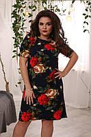 Летнее женское темно синее платье в розы короткий рукав большого размера, фото 1