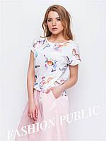 Женская короткая летняя блуза стильный принт
