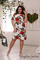 Женское стильное летнее белое платье в красные розы, фото 1