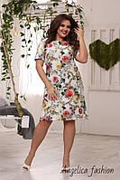 Стильное женское платье прямого силуэта в ромашках