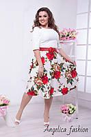 Женское нарядное платье в цветочный принт , фото 1