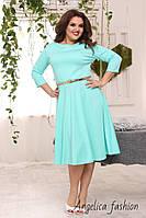 Женское трикотажное однотонное платье с поясом платье большой размер , фото 1