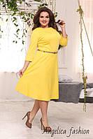 Женское трикотажное однотонное платье с поясом платье большой размер цвет солнце, фото 1