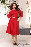 Женское трикотажное однотонное красное платье с поясом платье большой размер , фото 1