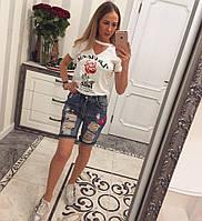 """Женские модные джинсовые """"рваные"""" шорты бриджи с вышивкой и высокой посадкой"""