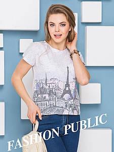 Женская короткая меланжевая футболка с красивым принтом