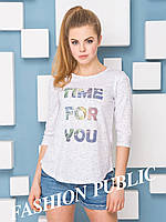 Женская молодежная  футболка с надписями рукав три четверти