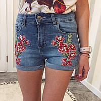 Женские модные джинсовые шорты с вышивками, фото 1