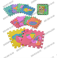 Коврик мозаика M 0376 EVA фрукты-животные, 10 деталей 30*30*0,9 см, упакован в кулек, развитие ребенка