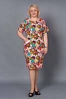 Платье  из льна с цветами большой размер