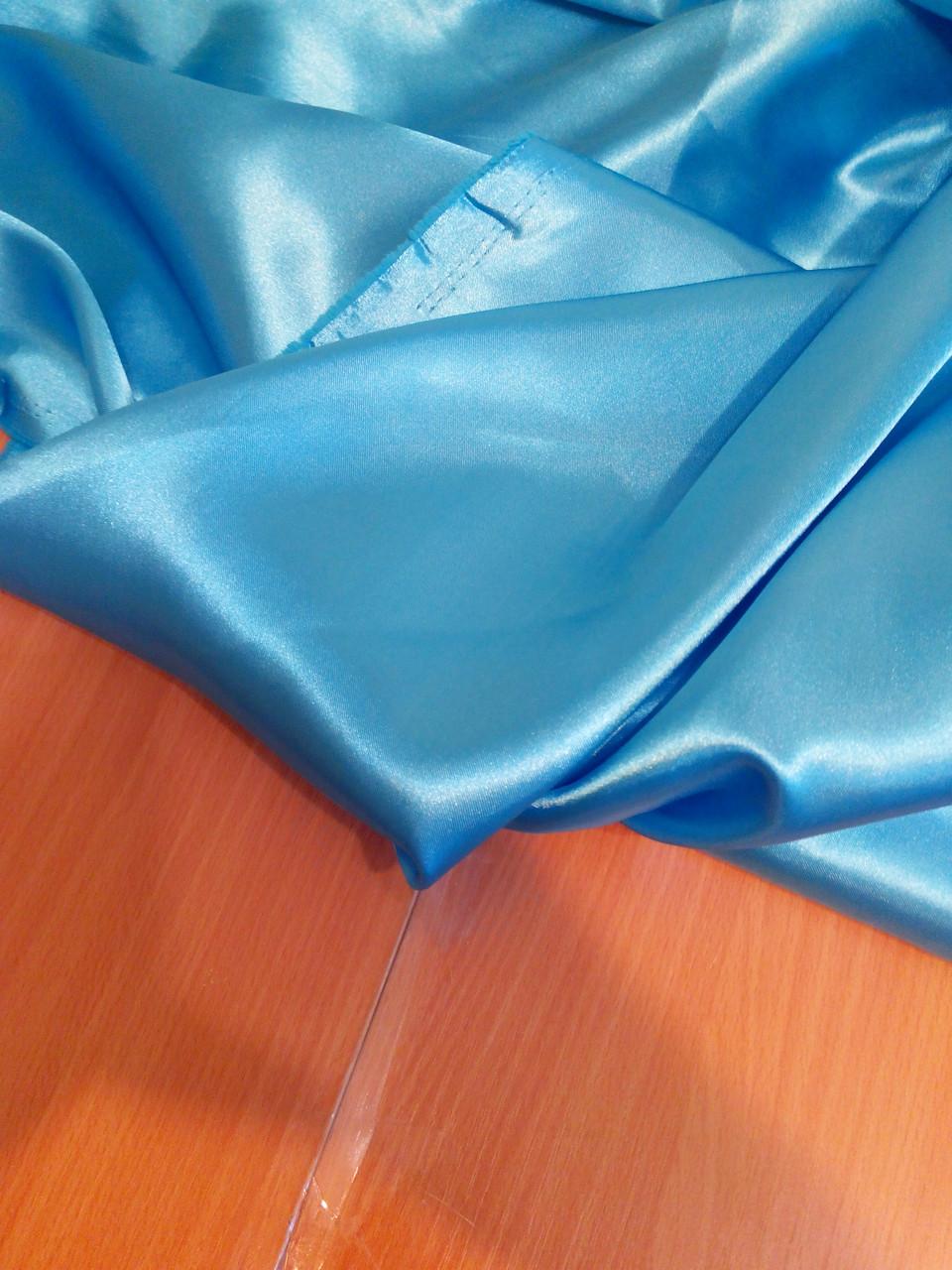 Ткань атласная (атлас), голубой