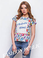 Женская футболка  большого размера с бабочками