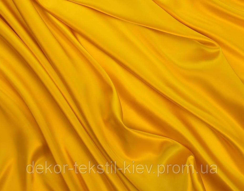 Ткань атласная (атлас), желтый, лимонный.