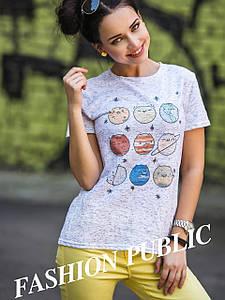 Женская футболка с прикольным принтом